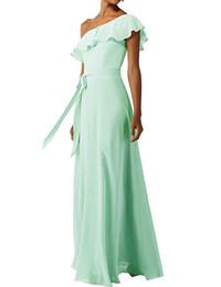 $enCountryForm.capitalKeyWord UK - 2019 One Shoulder A-line Bridesmaid Dress Sleeveless Floor Length Ruffled Chiffon Wedding Gust Gown With Sash