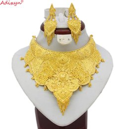 $enCountryForm.capitalKeyWord Australia - Adixyn Dubai Necklace&Earrings Jewelry Set for Women Gold Color & Copper African Arab Middle East Wedding Party Gifts N06087