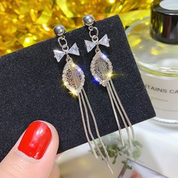 $enCountryForm.capitalKeyWord Australia - Fashion Earrings Pineapple Drop Hanging Bow Tassel Fringe Dangle Korean Boho Hollow Women Wedding Pendant Jewelry O4e727