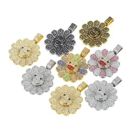 spinning pendant NZ - Shining Women Mens Spin Whirling Sun Flower Necklaces Full Rhinestone Pendants Gold Silver Black Bling Rotate Chains Jewelry