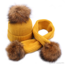 $enCountryForm.capitalKeyWord NZ - Winter Vintage Knitted Kids Hat Scarf Set With 15cm Real Raccoon Fur Ball Baby Warm 1 To 3 Years Old Children Beanies Caps Scarves suit