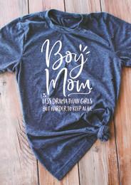 Plus Size Harajuku Clothing NZ - Boy Mom Less Drama Than Women T-Shirt Plus Size Tee Tops Ladies Female Short Sleeve O-Neck Casual Harajuku Korean Clothing