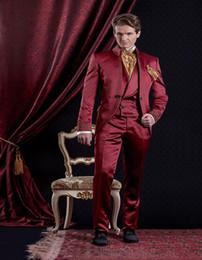 Mandarin Suit Tie Australia - New Popular Mandarin Lapel Embroidery Groomsmen One Button Groom Tuxedos Men Suits Wedding Prom Best Man Blazer ( Jacket+Pants+Vest+Tie) 326