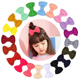 handmade hair bow boutique UK - 1 Piece Solid Two Layers HOT Hair Bows Boutique Hair Clip For Kids Girls NEW Handmade Hairgrips Daily Barrettes Accessories
