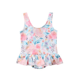 pink bathing suits kids NZ - 2019 Summer Girl Swimwear Floral Ruffles Toddler Kids Baby Girls Swimsuit Bathing Suit Beachwear Swimming Baby Girls Clothing