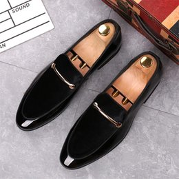 $enCountryForm.capitalKeyWord NZ - Autumn business dress lacquer leather shoes, high-quality brand men's footwear casual shiny shoes, one foot pedal shoes