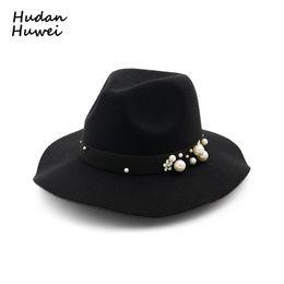 $enCountryForm.capitalKeyWord UK - Autumn Winter Wide Brim Women Woolen Felt Fedoras Hat with Belt Pearl Welcomed Lady Jazz Formal Party Cap Trilby chapeau Hi-Q