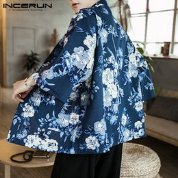 Wholesale Chinese Style Men Outerwear Sleeve Cotton Floral Print Men Trench Coat Vintage Streetwear Kimono Cardigan INCERUN S XL