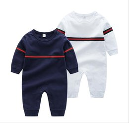 Autumn Cotton Australia - Kids Cotton baby Cloth Solid Color Baby Romper Spring Autumn Long Sleeve Baby Boy Girl Romper Infant Warm Jumpsuit