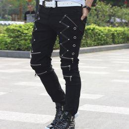 $enCountryForm.capitalKeyWord Australia - 2018 New Arrival Spring Fashion Mens Punk Skinny Pants For Man Cool Cotton Casual Pants Zipper Slim Fit Black Goth