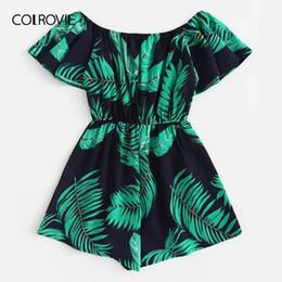$enCountryForm.capitalKeyWord UK - Colrovie Plus Size Off The Shoulder Tree Print Ruffle Boho Jumpsuit Rompers Women 2019 Summer Short Sleeve Vacation Playsuits Y19071801