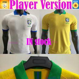 Discount pele jerseys - 2020 player version Brazil soccer jersey home away Marcelo PELE OSCAR D.COSTA DAVID LUIZ top quality football soccer shi