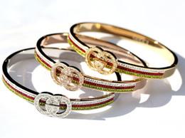 Wholesale two-letter fashion bracelet wedding jewelry red and green diamond bracelet luxury bracelet g designer bangle free shipping