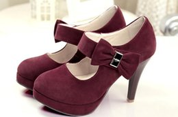 stiletto shoes table Australia - 2019 bowknot Suede Women's shoes in Spring and Autumn with New style High heel fine heel round head waterproof table