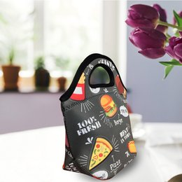 Types fabric maTerials online shopping - Owl Cartoon Lunch Box Bag Thermal Insulation Collapsible Wrap Twill Diving Material Package Zipper High Capacity Portable Handbag jsb1