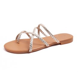 flat tie clip NZ - Knitted flip-flops women clip toe sandals flats cross narrow band sandalias femmina gladiator sandale big size beach shoes 2020