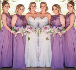 gold silk chiffon bridesmaid dresses Australia - Light Purple Lace Chiffon Bridesmaid Dresses 2019 Scoop Pleats Long Wedding Guest Dresses Country Maid Of Honor Gowns Vestidos