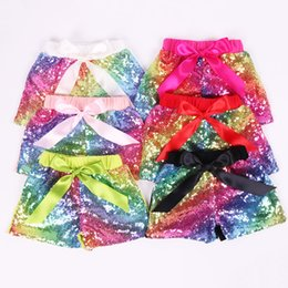Wholesale sequin trousers for sale – dress Baby Sequin Pants Toddler Summer Glitter Short Pant Girls Satin Bowknot Shorts Sequined Trousers Fashion Boutique Shorts GGA2493