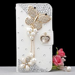 $enCountryForm.capitalKeyWord NZ - wholesale Bling Handmade Glitter Rhinestone Pearl Leather Flip Wallet Protective Case for Iphone for SamsungS3 S4 S5 S6 S7 S8 N5