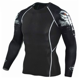 wholesale wolf shirts Australia - Wolf 3D T Shirt Long Sleeve Sport Shirt Men Crossfit Compression Tights Men's Running T-shirts Gym Dry Fit Rashgard