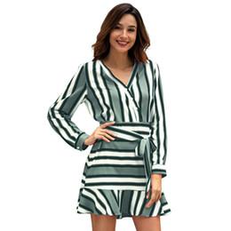 Original Design 2019 Spring New Pattern Stripe Long Sleeve V Lead mini club  beach Dress maxi Suit-dress casual woman dresses models for Sale ddd7c39de