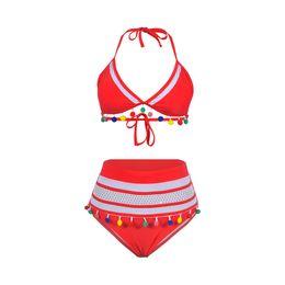 $enCountryForm.capitalKeyWord Australia - 2019 European And American Women Fashion Ladies Striped Bikini Net Yarn Fringed Ball Sexy Swimsuit OS19001RED