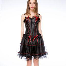 557aa9ce9dc9b Satin Corset Dress Set Shoulder Strap Women Bustier 6XL Plus Size Corselet  Mini Skirt Solid Black Bowknot Party Laciness Korset