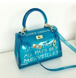 Blue Cotton Candy Australia - Transparent Bag Jelly Tote Candy Flap Letters Printing Women Shoulder Bag Crossbody Green Yellow Orange White Black Blue