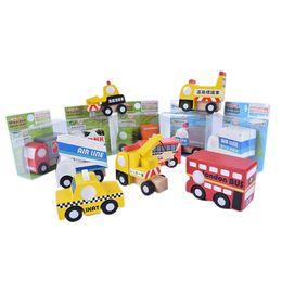 bus toy models 2019 - Creative New Wooden Children's Car Engineering Model Twelve Sets Of Multiple School Bus Model Infant Cognitive Educ