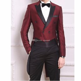 $enCountryForm.capitalKeyWord Australia - Classic Groomsmen Peak Lapel Groom Tuxedos Tailcoat morning Style Men Suits Wedding Prom Best Man Blazer( Jacket+Pants+Bow Tie )M211