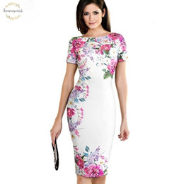 business shirt white NZ - Shirt Dresses Vintage Elegant Flower Print Wear To Work White Vestidos Business Bodycon Sheath Women Office Pencil Dress B455