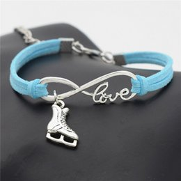 Discount figure skating accessories - Infinity Love Ice Figure Skating Boots Shoes Sport Bracelets PU Blue Leather Suede Bangles For Men Women Wristband Charm