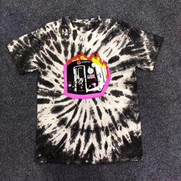24af8965edb2 New Travis Scott Astroworld Sicko Tee Burning train T shirt Men Women 1a:1  Best quality Tie dyeing O-neck Fashion t-shirts