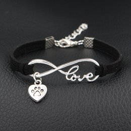 Heart Prints Australia - Hot 2019 New Arrival Dog Paw Prints Heart Charm Bracelet Antique Silver Infinity Love Black Leather Suede Bangles For Women Men Jewelry Gift