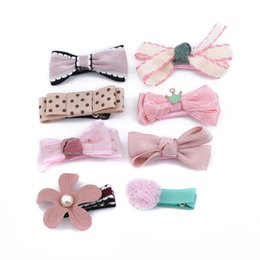 kid hair clips for sale UK - 8Pcs set Hairpin New Children Kids Hair Clip Bow Flower Mini Barrettes Hair accessories For Kids Girls Headwear Hot Sale