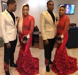 $enCountryForm.capitalKeyWord Australia - Red Mermaid Long Sleeves Prom Dresses Lace Applqiued Ruched Flowers African Black Girls Prom Dresses Evening Wear Party Gowns