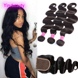 Peruvian Hair Products 3 Bundles With 4X4 Lace Closure With Baby Hair Body Wave 8-30inch Double Wefts Body Wave on Sale