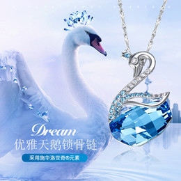 necklace korea Canada - Japan and South Korea New S925 Sterling Silver Swan Necklace with Swarovski Element Crystal Pendant Girl Clavicle Chain