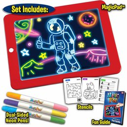 Drawing paper art online shopping - 3D Magic Pad LED Writing Board For Plastic Creative Art Magic Board With Pen Brush Children Clipboard Educational Set gift