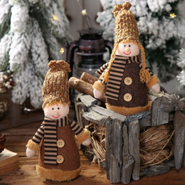 doll knitting NZ - Christmas Xmas Tree Hanging Christmas Knitted Dolls Pendant Home Holiday Figurines Ornaments Decorations navidad 2019