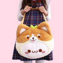 Patchwork Plaid Handbags Australia - Animal Corgi Emoji Cartoon Shoulder Bag Soft Fluffy Plush Toy Womens Girls Puppy Dog Kawaii Handbag Shopping School Tote Bag