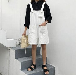 Wholesale Black S Hooks Australia - 2019 spring new hook strap shorts Korean version loose students all kinds of summer clothes new one-piece pants