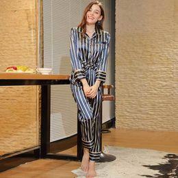 $enCountryForm.capitalKeyWord Australia - Autumn Women Long Sleeve Striped Pajamas Sets Long Pants Slik Satin 2 Pieces Sleep Wear Set Sleep Clothing Loungewear Night Suit J190712