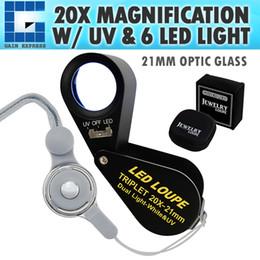 Lighting Gems NZ - GEM-248 20x Loupe 21mm Optical Glass Magnifier 6 LED Light & UV Light Mini Magnification Jeweller Black Frame Achromatic Triplet Lens