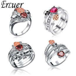 Finger Rings For Girls Australia - Gothic Skull rings set Finger Silver female wedding For Women Girl Red Heart Crystal CZ Rose Flower Trendy Jewelry Gift ring