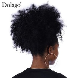China 1 Piece Clip In Ponytails Dolago Afro Kinky Curly Ponytail For Women Natural Black Color Remy Hair Free Shipping cheap european hair ponytails suppliers