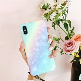 iphone suit NZ - For iphone X case iPhone 8 7 plus 6s Ins Summer Dream Gradual Rainbow Silicone Protective Suit new arrivals