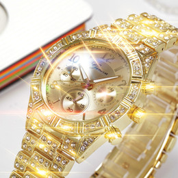 Discount geneva stainless steel rhinestone - New Fashion Geneva Stainless Steel Belt Watches Women Luxury Rhinestone Bracelet watches Ladies Quartz Dress Clock Fi