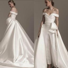 $enCountryForm.capitalKeyWord UK - Lace Stain Wedding Jumpsuit with Detachable Train 2020 Off Shoulder Plus Size Cathedral Train Bride Pant Suit Wedding Gown