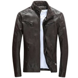 Wholesale vintage mens jacket designs for sale - Group buy New Locomotive Leather Jacket Mens Jaqueta De Couro Masculina New Vintage Design Motorcycle Leather Jacket Male Casual Coats